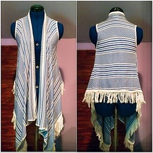 SayWhat? Blue and White striped Asymmetrical Vest